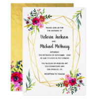 Floral Gold Geometric Crystal Wedding Invitation
