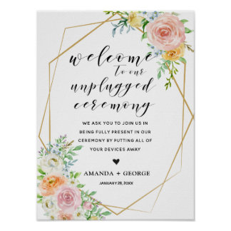 Floral gold geometric unplugged ceremony sign