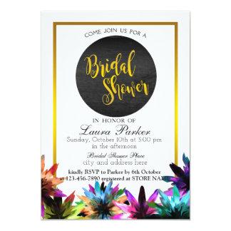 Floral Gold Glitter Bridal Shower Elegant Decorate Card