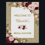 "Floral Gold Glitter Bridal Shower Welcome Sign<br><div class=""desc"">Gold Glitter Floral Welcome Sign - wording is customizable