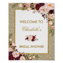 Floral Gold Glitter Bridal Shower Welcome Sign