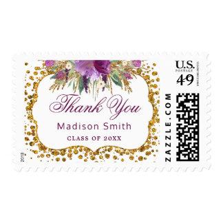 Floral Gold Glitter Confetti Graduation Thank You Postage