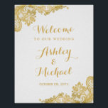 "Floral Gold Lace Pattern Wedding Reception Sign<br><div class=""desc"">================= ABOUT THIS DESIGN ================= Floral Gold Lace Pattern Wedding Reception Sign Poster. (1) The default size is 8 x 10 inches, you can change it to any size. (2) You are able to Change the Navy Blue to ANY COLOR by clicking the &quot;Customize it&quot; button and setting the Background...</div>"