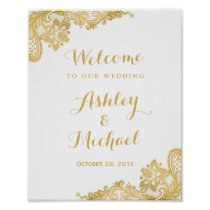 Floral Gold Lace Pattern Wedding Reception Sign Poster