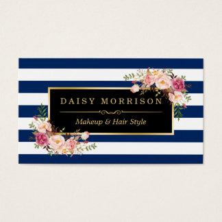 Floral Gold Makeup Salon Changeable Navy Stripes Business Card
