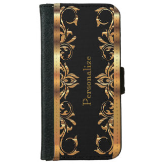 Floral Gold Metallic on Black iPhone 6/6s Wallet Case