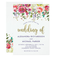 Floral Gold | Modern Watercolor Wedding Card