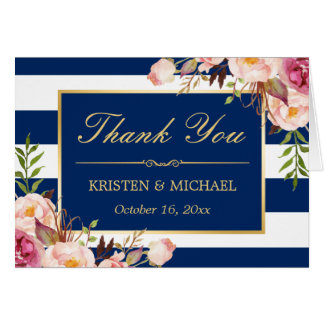 Floral Gold Navy Blue Stripes Wedding Thank You Card