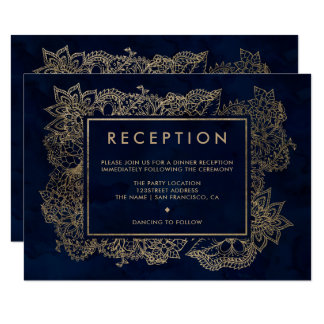 Floral gold navy blue watercolor reception wedding card