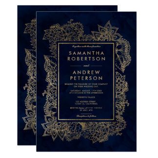 Floral gold navy blue watercolor wedding invitation