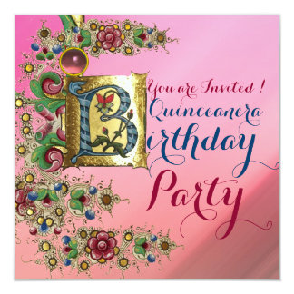 FLORAL GOLD PINK QUINCEANERA 15th BIRTHDAY PARTY Card