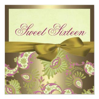 Floral Gold & Pink shimmer Birthday Invitation