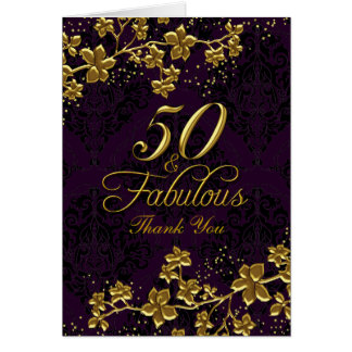 Floral Gold Purple 50 & Fabulous Thank You Card