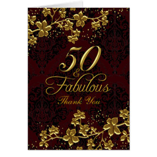 Floral Gold Red 50 & Fabulous Thank You Card