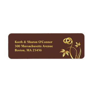 Floral Gold Rings Return Address Small Labels