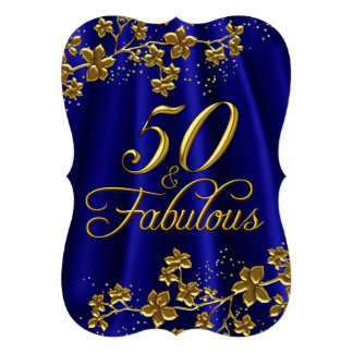 Floral Gold Royal Blue 50 & Fabulous Birthday Card
