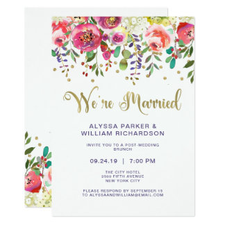 Floral Gold | We're Married Card