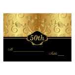 Floral golden black 50th Reception Place Card Large Business Card