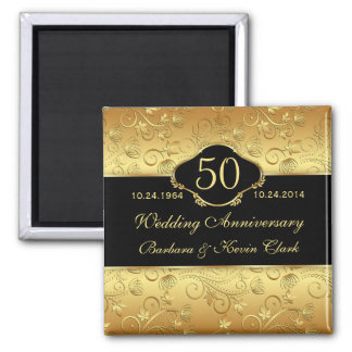 Floral golden black 50th Wedding Anniversary 2 Inch Square Magnet