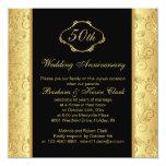 Floral golden black 50th Wedding Anniversary Invitations