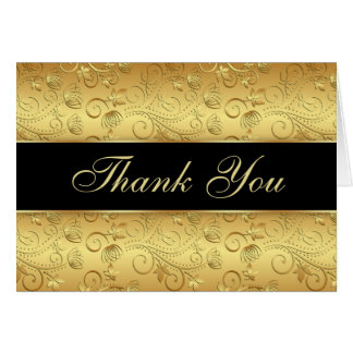 Floral golden black Thank You Card