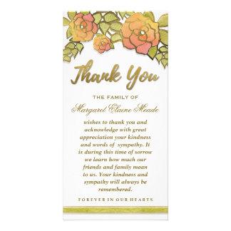 Floral Golden Elegant Thank You Sympathy Card