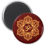 Floral Golden Red Aum Design 2 Inch Round Magnet