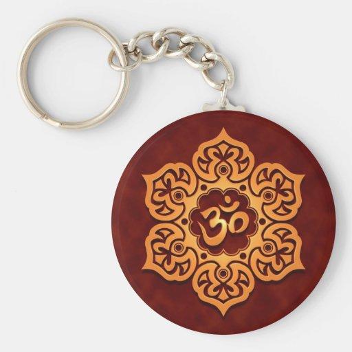 Floral Golden Red Aum Design Basic Round Button Keychain