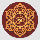 Floral Golden Red Aum Design Classic Round Sticker