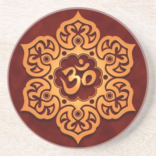 Floral Golden Red Aum Design Coasters Zazzle