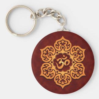 Floral Golden Red Aum Design Keychain