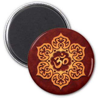 Floral Golden Red Aum Design Refrigerator Magnet