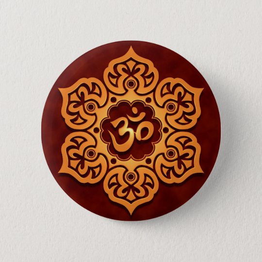 Floral Golden Red Aum Design Pinback Button