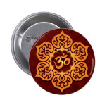 Floral Golden Red Aum Design Pinback Button