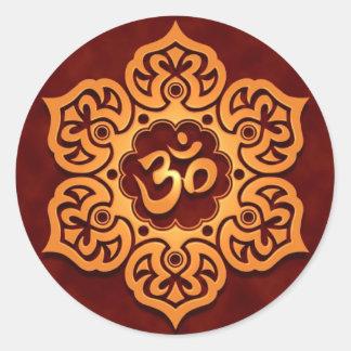 Floral Golden Red Aum Design Round Sticker