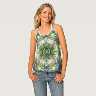 Floral Gone Wild Pink and Green Tank Top