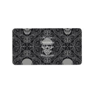 Floral gótico de la textura gris y negra del etiqueta de dirección