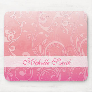Floral grabada en relieve naranja rosado elegante alfombrillas de raton