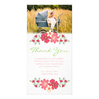 Floral gracias plantilla de la tarjeta de la foto  plantilla para tarjeta de foto