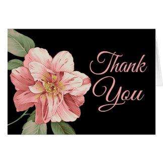 Floral gracias tarjeta de nota rosada del negro de