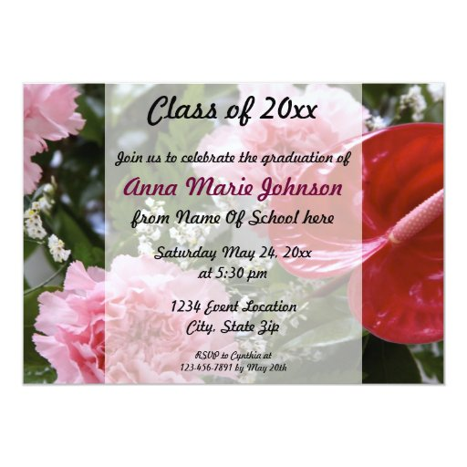 Floral Graduation Invitation