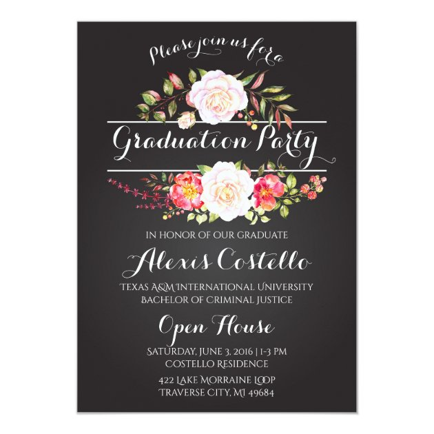 Floral Graduation Party Watercolor Boho Card