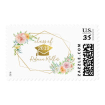 Floral graduation personalized postage stamp