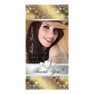 Floral Graduation Photo Card Silver Gold Damask