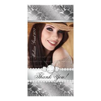 Floral Graduation Photo Card Silver Silver Damask