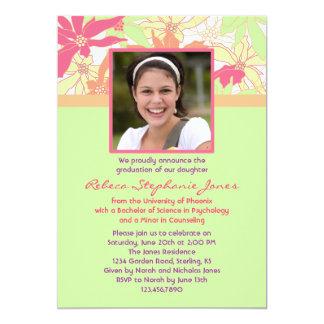 Floral Graduation Photo Invitation