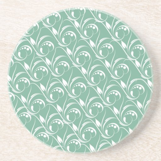 Floral Graphic Design On Spearmint Green Pattern Drink Coaster