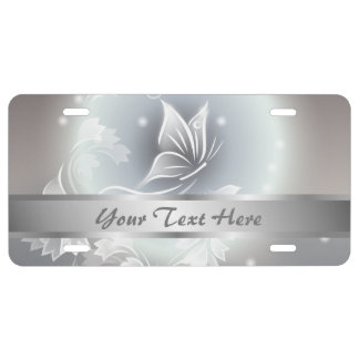 Floral Gray Butterfly Animal Personalize License Plate