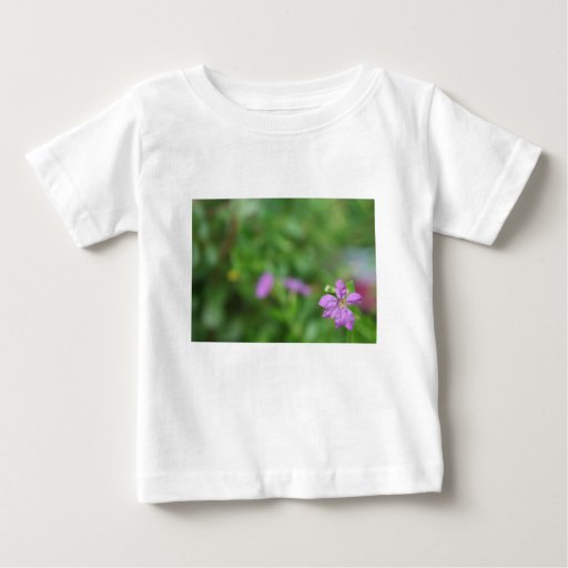 Floral green background small purple flower baby T-Shirt