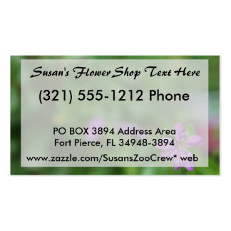 Floral green background small purple flower business card